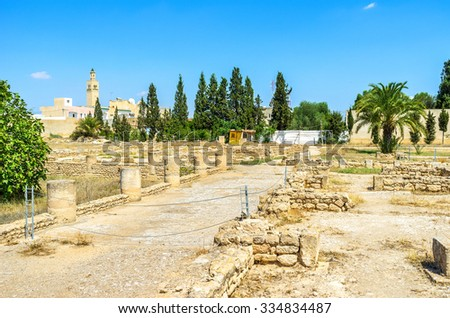 The archaeological museum of El Jem is the best place for the lazy walks among the antiquities, Tunisia. - stock photo