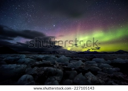 The Archipelago of Svalbard - land of the enchanted Polar Night and mystical Northern Lights - stock photo