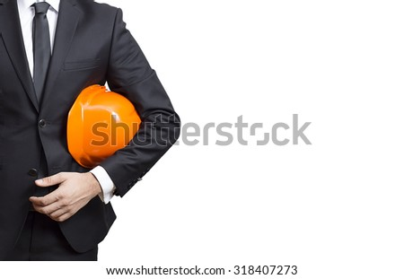 the architect  hold  a helmet in his hand, isolated on white background. - stock photo