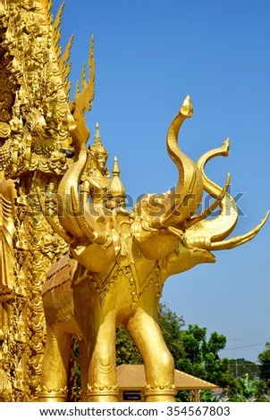 The architecture golden elephant statue of Thailand - stock photo