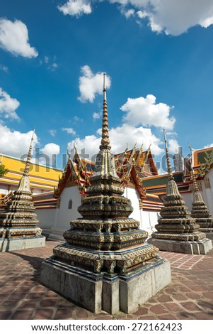 The architecture of Wat Pho, in Bangkok Thailand - stock photo