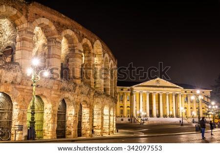 The Arena and Palazzo Barbieri in Verona - Italy - stock photo