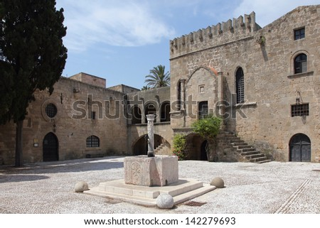 the Argirokastrou Square in the old town of Rhodes, Greece - stock photo