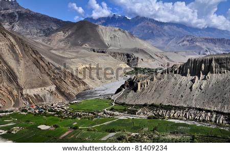 The around Annapurna trek in the Nepal Himalaya. The Village of Kagbeni, perched above the Kali Gangaki river - stock photo