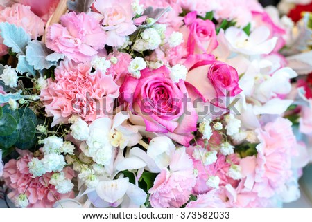 The arrangement of bunch of decorative  flowers - stock photo