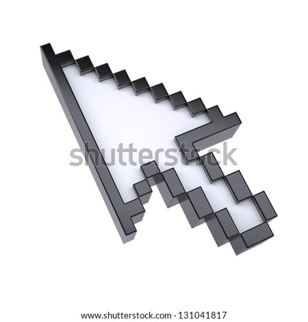 The arrow pointer by pixels. Isolated render on a white background - stock photo