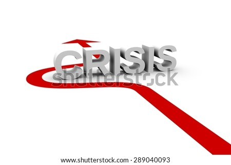 the arrow shows how to beat the crisis - stock photo