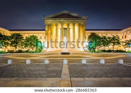 The Art Museum at night, in Philadelphia, Pennsylvania. - stock photo