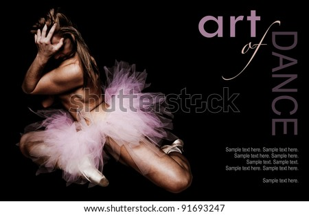 The Art of a Woman Dancer with text space to the right - stock photo