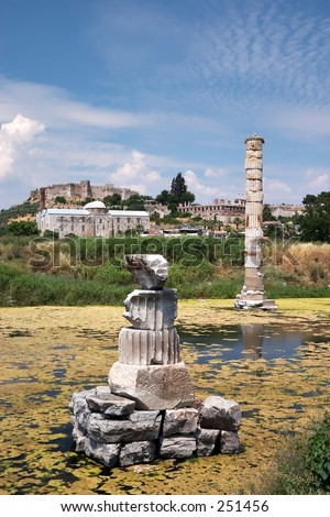 The Artemision, or Temple of Artemis or Diana at Ephesus - stock photo