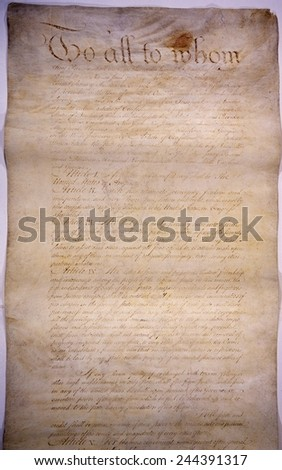The Articles of Confederation. The first page of six of the Nation's first constitution was a confederation of 13 sovereign states bound loosely in a 'league of friendship' was created in 1781. - stock photo