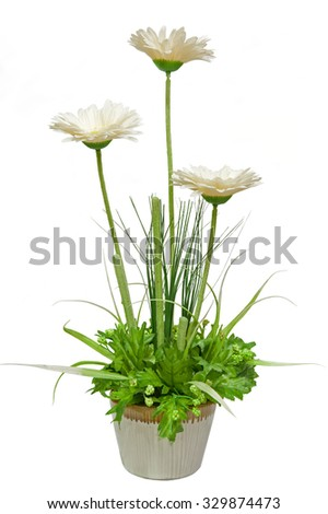 The artificial flower in a pot on white background from front view - stock photo