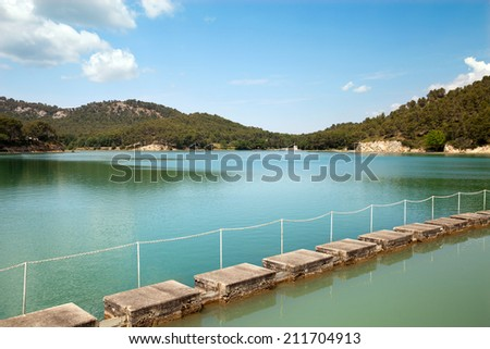 The artificial lake on river in Provence, France - stock photo