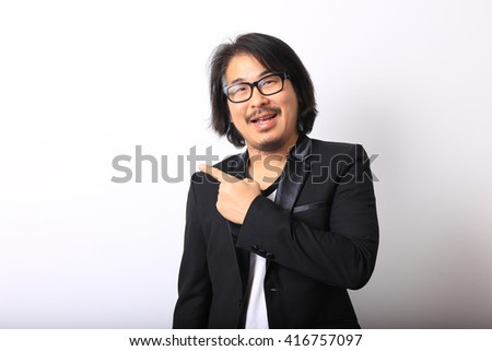 The asian man pointing - stock photo