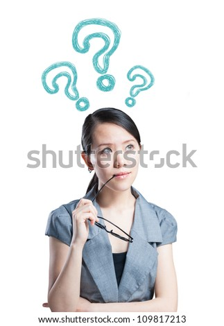 The Asian women thinking about and filled with the question mark - stock photo