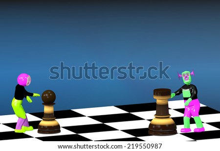 The astronaut and the alien play chess - stock photo