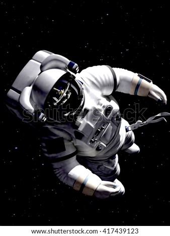 The astronaut in outer space against stars  - stock photo