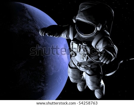 The astronaut on a background of a planet - stock photo