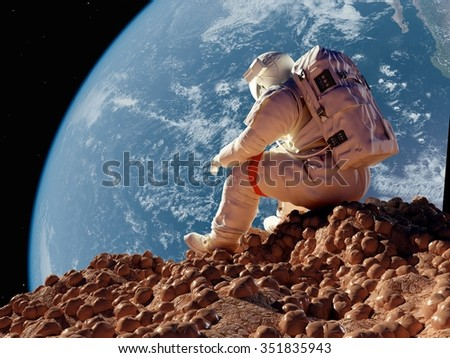 "The astronaut  on the background of the planet.""Elemen ts of this image furnished by NASA"" - stock photo"