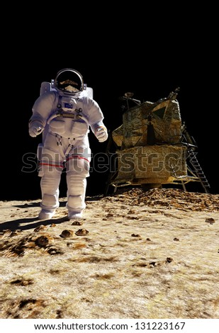 "The astronaut  on the background of the planet.""Elements of this image furnished by NASA"" - stock photo"