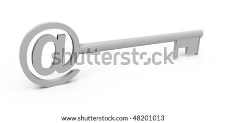 The at symbol on a key - a 3d image - stock photo