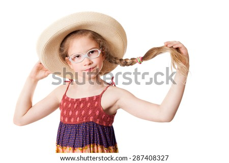 The attractive girl in straw hat holds her own plait, isolated on white background - stock photo