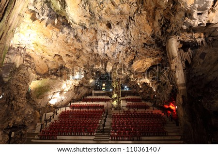 The auditorium at the Cathedral Cave in Gibraltar - stock photo