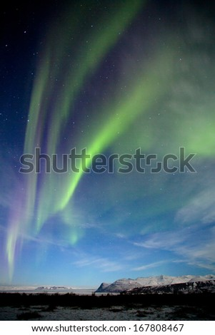 The aurora borealis or the northern lights or Northern light at Skaftafell Iceland - stock photo