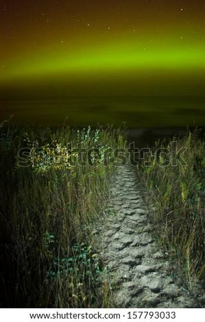 The aurora/northern lights shine in green, yellow and red over Lake Michigan with a beach trail in the foreground. - stock photo