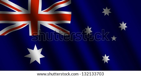 The Australian flag  flying in the wind. - stock photo