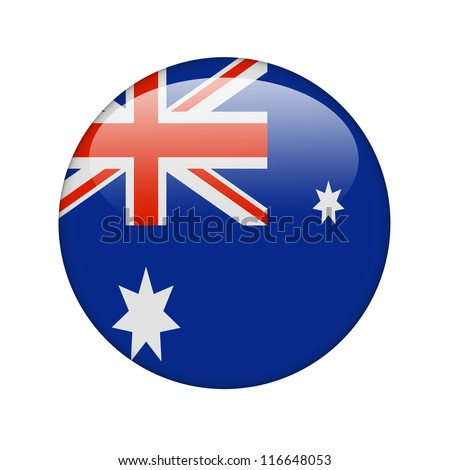The Australian flag in the form of a glossy icon. - stock photo