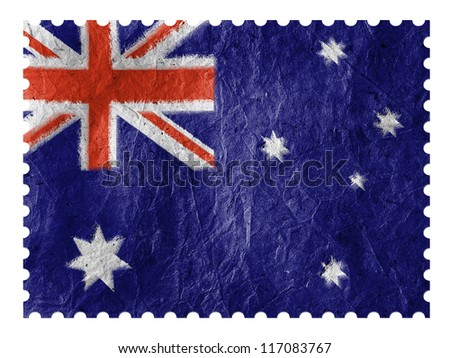 The Australian flag painted on  paper postage  stamp - stock photo