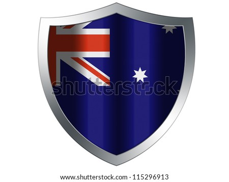 The Australian flag painted on  protection shield - stock photo