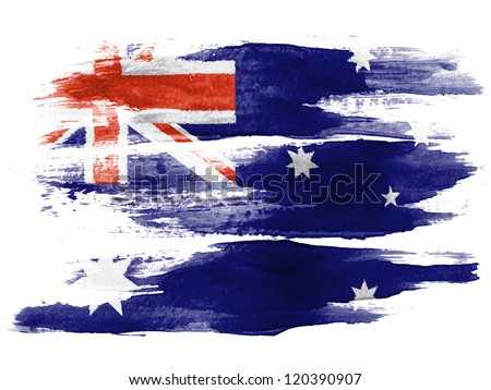 The Australian flag painted on  white paper with watercolor - stock photo