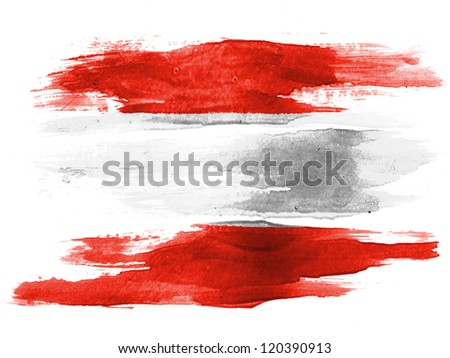 The Austrian flag painted on white paper with watercolor - stock photo