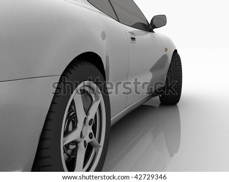 The automobile on a mirror background - stock photo
