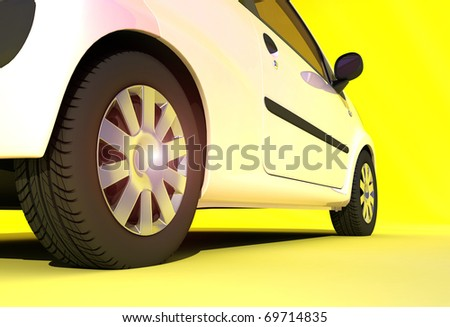The automobile on a yellow background. - stock photo