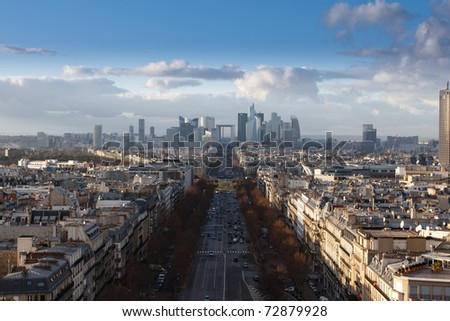 The Avenue Charles de Gaulle and La Defense (CBD, center bussiness district of Paris) - stock photo