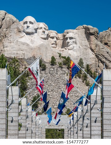 The Avenue of Flags at Mount Rushmore National Monument near Keystone, South Dakota - stock photo