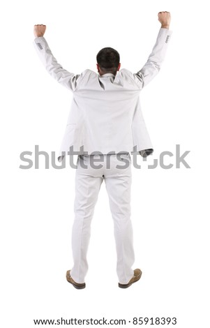 The back of businessman thumbs up. rear view. Isolated over white . - stock photo