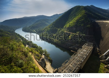 The back of the dam water. Electricity production. - stock photo