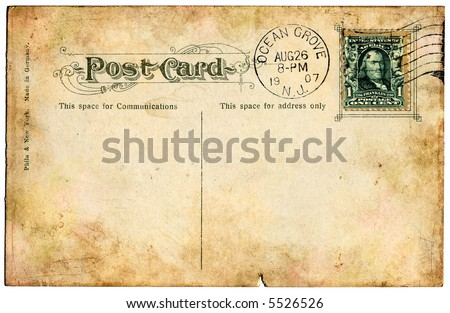 The back side of an old postcard from 1907. - stock photo