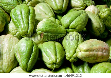 The background of fresh chayote - stock photo
