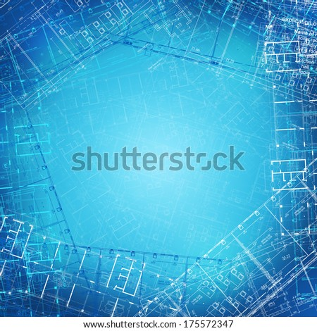 The background of the architectural drawings. blue background - stock photo