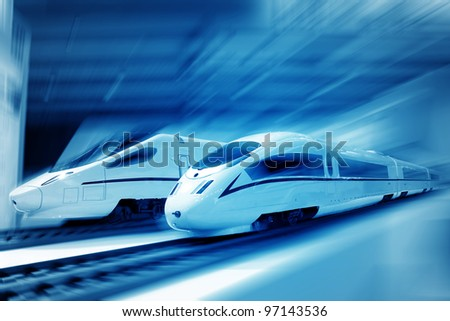 the background of the high-speed train with motion blur outdoor - stock photo