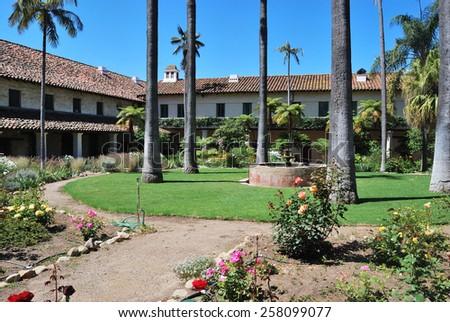 The backyard of old mission, Santa Barbara, California - stock photo