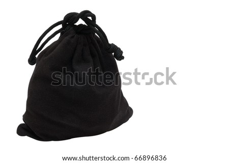 The bag from black cloth is fastened by a string. On a white background - stock photo