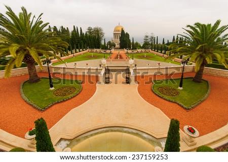 The Bahai gardens and temple, on the slopes of the Carmel Mountain, in Haifa, Israel - stock photo