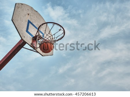 The ball flew into the basket. - stock photo