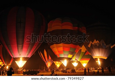 The balloon at night , Thailand - stock photo